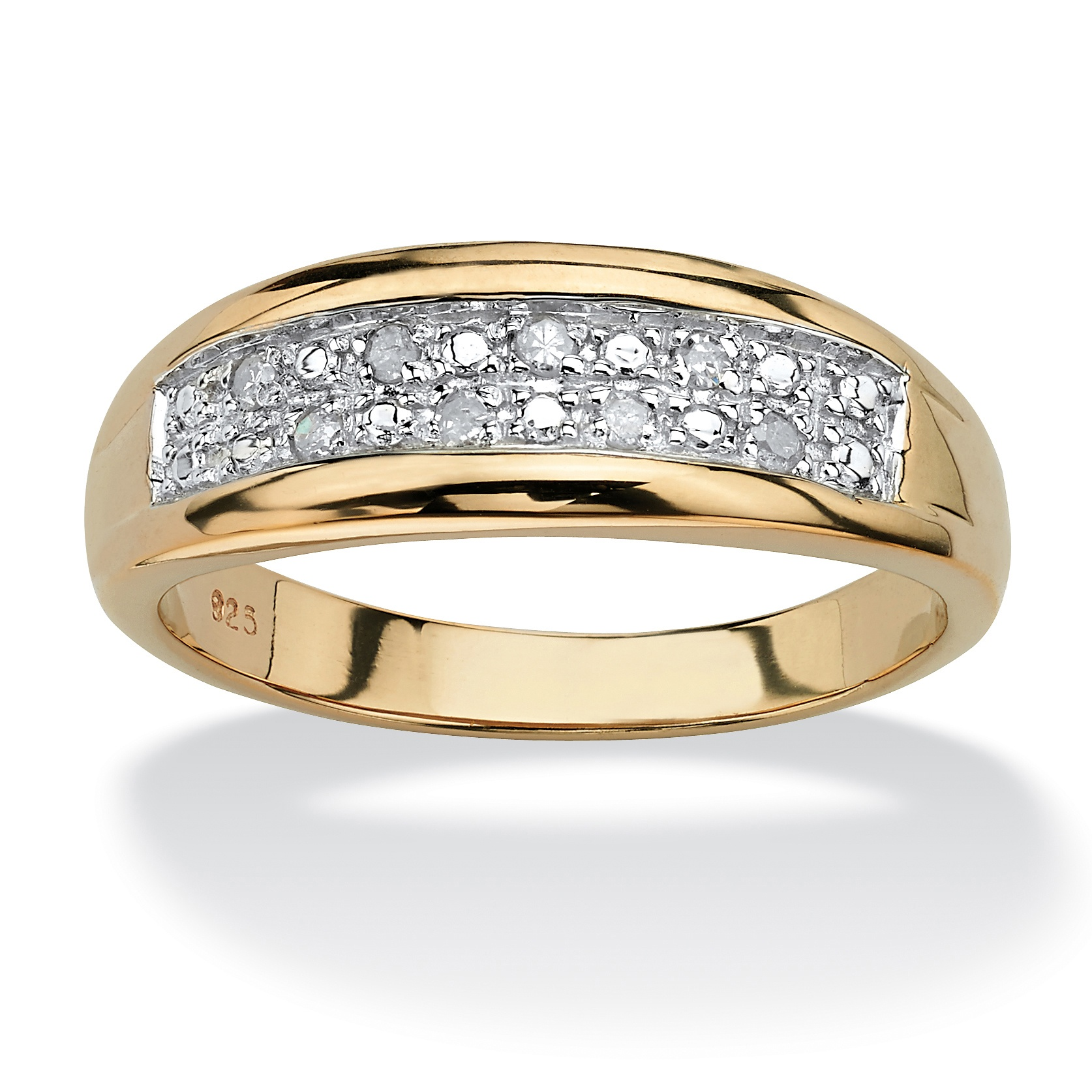 Men's 1/8 TCW Pave Diamond Wedding Band in 18k Gold over Sterling Silver