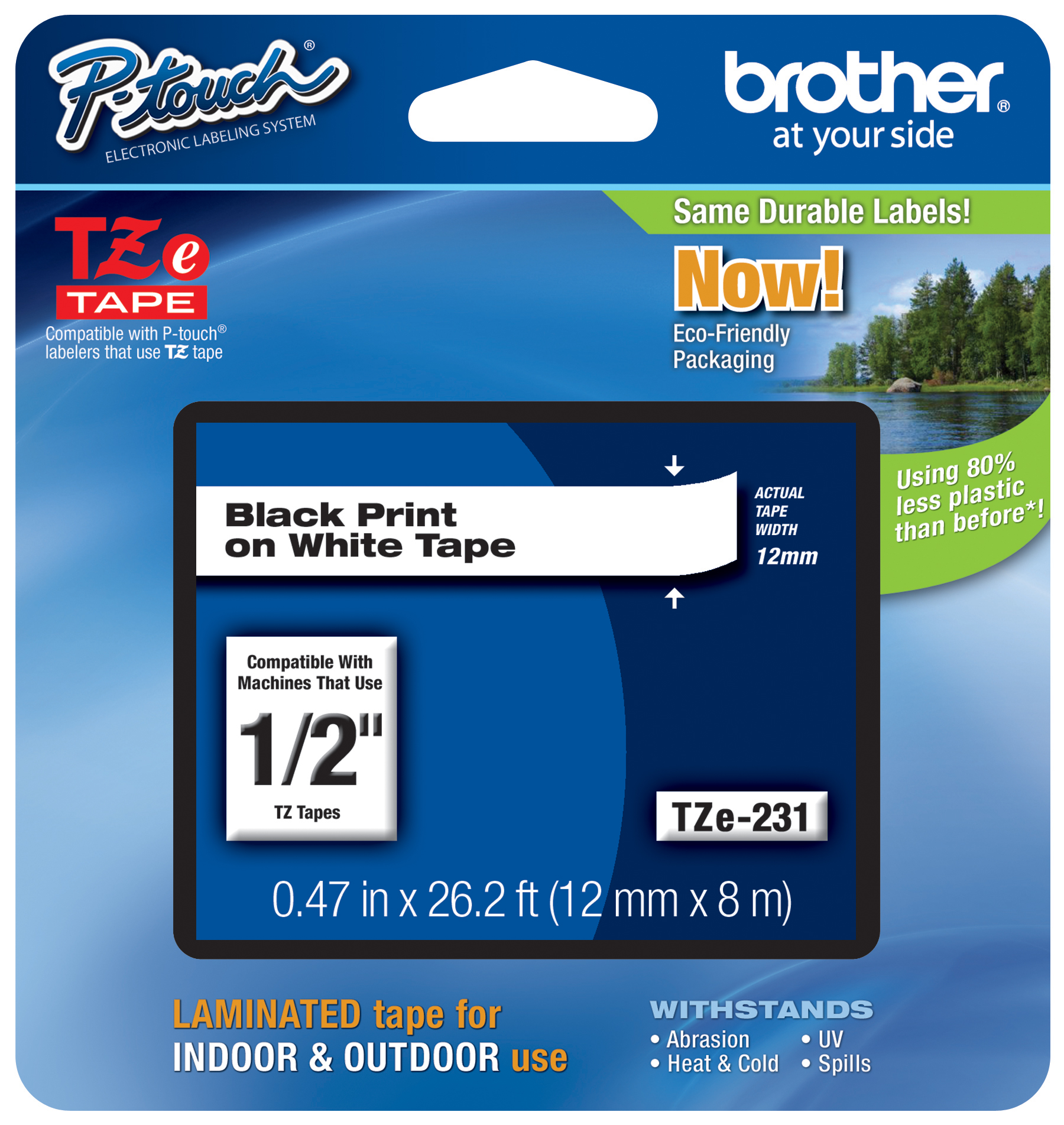 5PK TZ TZe 211 Black on White Label Tape For Brother P-Touch PT-1890C 6MM 1//4/""