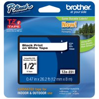 "Brother Genuine P-touch TZE-231 Tape, 1/2"" (0.47"") Standard Laminated P-touch Tape, Black on White, Laminated for Indoor or Outdoor Use, Water Resistant, 26.2 Feet (8M), Single-Pack"