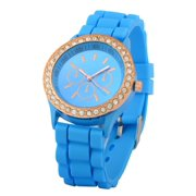 Light Blue Ladies Women Girl Silicone Quartz Golden Crystal Rhinestones Bling Jelly Wrist Watch
