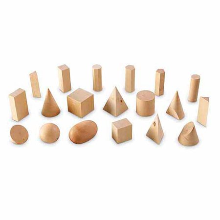 Learning Resources Wood Geometric Solids, Set of 19