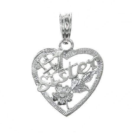 Million Charms 925 Sterling Silver Talking Pendant   1 Sister In Heart With Flowers