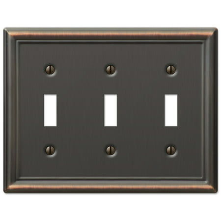 Triple Toggle 3-Gang Decora Wall Switch Plate, Oil Rubbed Bronze