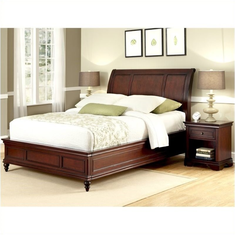 Bowery Hill Queen Sleigh Bed and Nightstand in Rich Cherry by Bowery Hill
