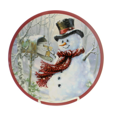Tabletop SNOW PLACE LIKE HOME PLATE Plastic Melamine Snowman Christmas (Best Place To Sell Collectible Plates)