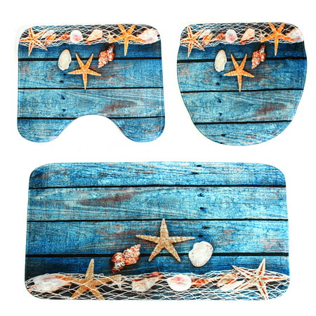 3Pcs Pedestal Rug + Lid Toilet Cover + Non-Slip Bath Mat Doormat Ocean Starfish Bathroom Set Home Decor Christmas Gift - image 3 of 8