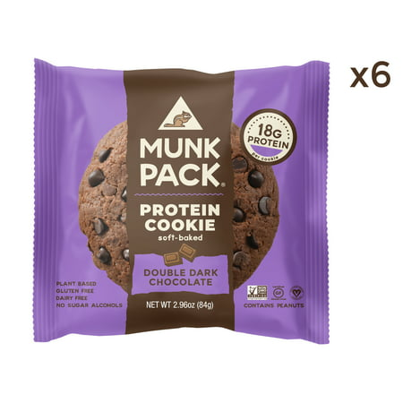 Munk Pack Protein Cookie, Double Dark Chocolate, 2.96 Oz, 6 Ct (Vegan Halloween Cookies)