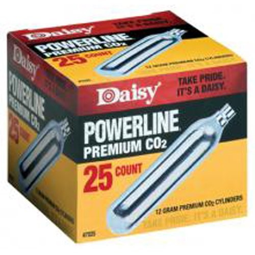 Click here to buy Daisy Ammunition and CO2 7025 25 ct. CO2 Cylinders by Daisy Manufacturing Company.