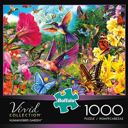Buffalo Games 1000 Piece Puzzle, Vivid - Hummingbird Garden - Halloween Games Puzzles Printable