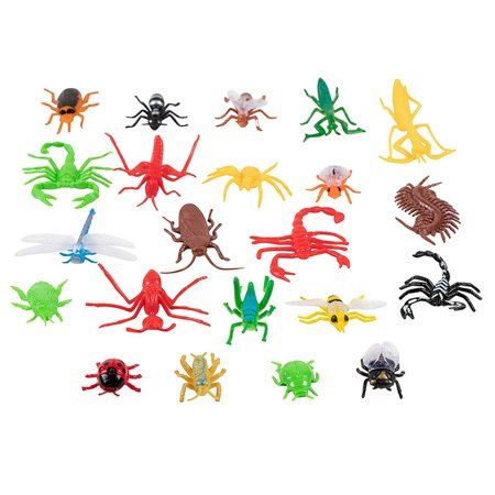 Creepy Crawlers Toy (Juvale Plastic Bug Toys - 22-Pack Fake Insect Figures, 22 Assorted Creepy Crawlers Including Spider, Cockroach, & Centipedes )