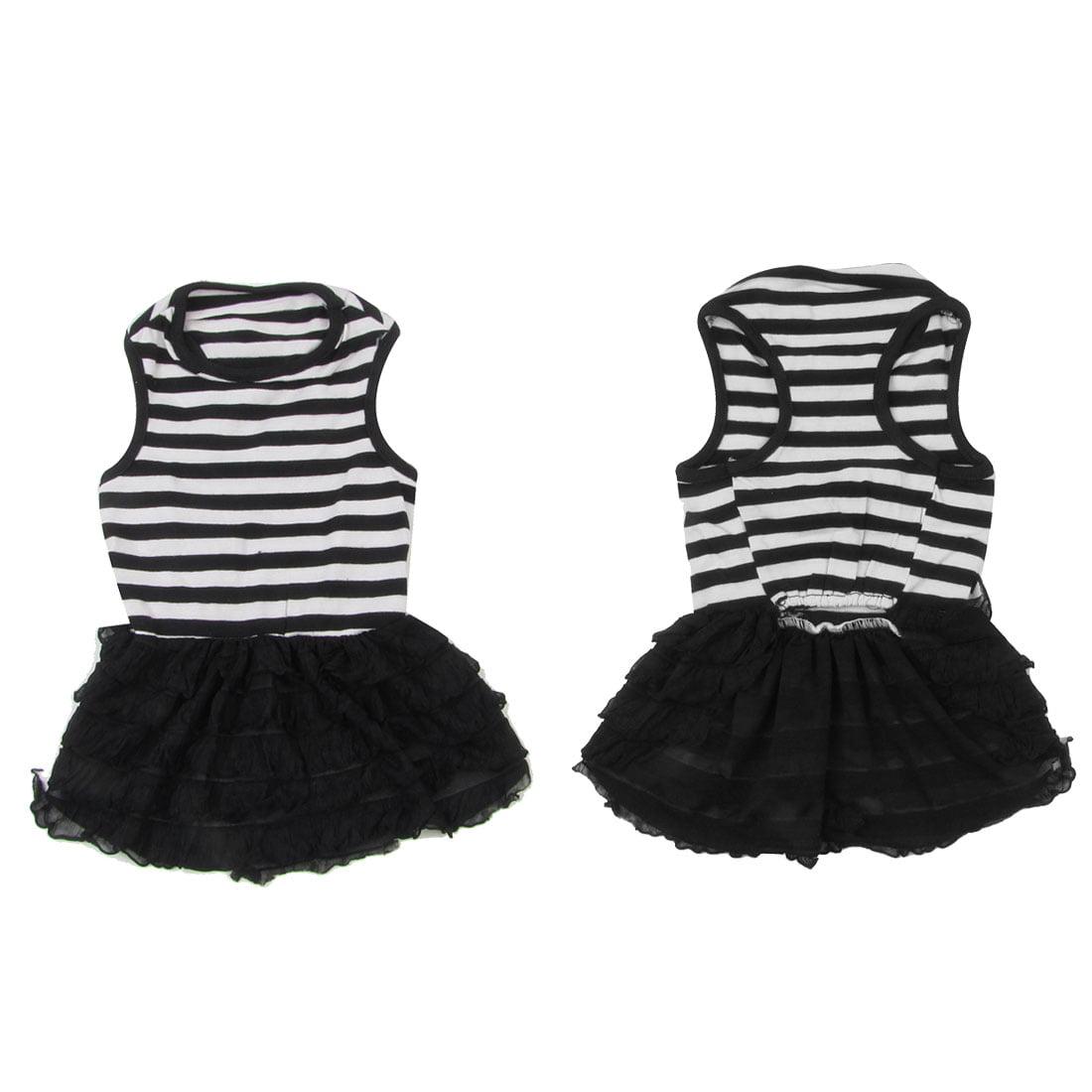 Unique Bargains Lace Decor Stripe Printed Pet Chihuahua Dress Apparel Clothing Black White M