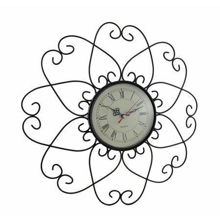 Bronze Finished Metal Flower Wall Clock 17 1/2 Inch Diameter
