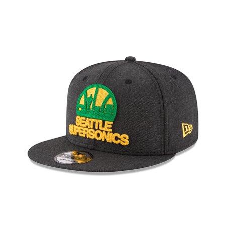 New Era Seattle SuperSonics Heather Crisp Snapback Hat (Black) by