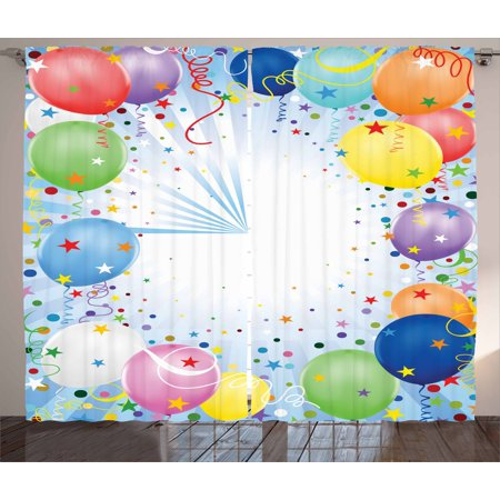 Kids Party Curtains 2 Panels Set, Happy Celebration Event Theme with Colorful Flying Balloons Confetti and Stars, Window Drapes for Living Room Bedroom, 108W X 84L Inches, Multicolor, by Ambesonne - Movie Star Theme Party