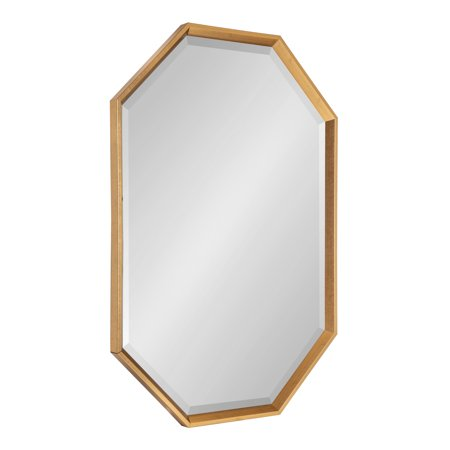 Kate and Laurel Calter Large Elongated Octagon Frame Wall Mirror, 25.5 x 37.5, Gold ()