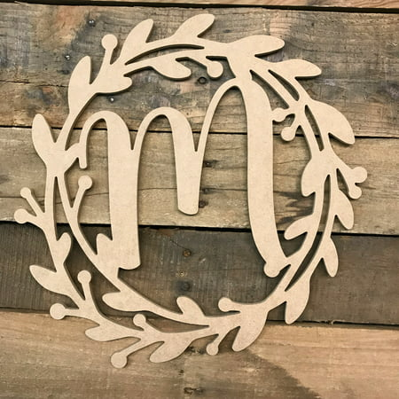 Wooden Cursive Wreath Frame Monogram 12