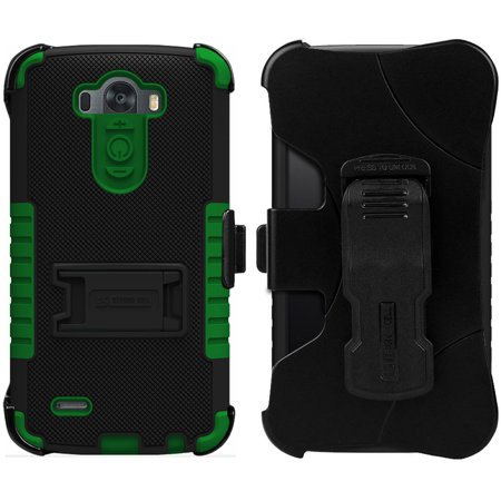 GREEN TRI-SHIELD KOMBO CASE SKIN COVER BELT CLIP HOLSTER STAND FOR LG G3 PHONE