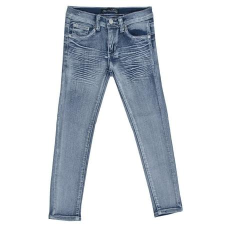 Girl's Stretch Fashion 5 Pockets Washed Premium Designed Skinny