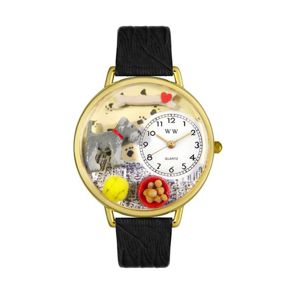 Whimsical Schnauzer Black Skin Leather And Goldtone Watch
