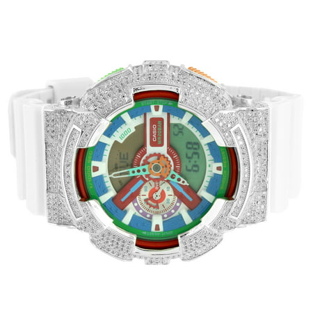 G-Shock GA110MC-7A Mens Watch Iced Out Lab Diamonds Multi Color Dial