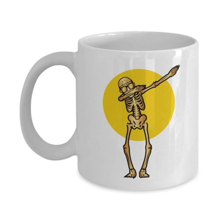 Funny Skeleton Dab Ceramic Halloween Gothic Art Coffee & Tea Gift Mug, Party Giveaways, Novelty Gifts, Items And Accessories For Goth Men & Punk Women