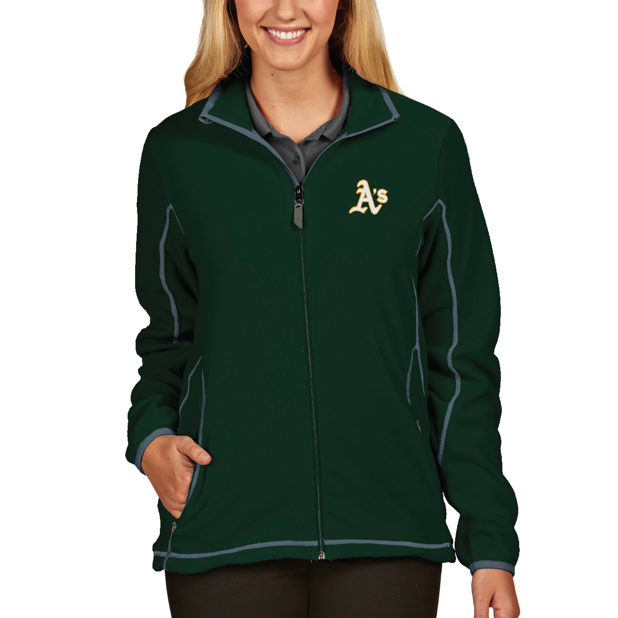 Oakland Athletics Antigua Women's Full Zip Ice Jacket - Green
