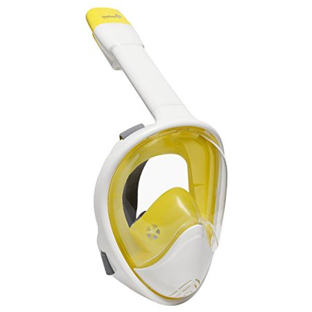 Ivation Snorkel Mask - Full-Face Snorkel Mask - 180° Visibility with Panoramic Viewing Area, Tubeless Design Prevents Water from Entering Mask & Mouth,Yellow,Small/Medium