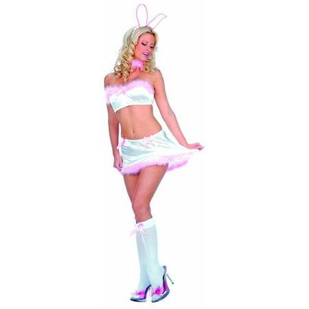 5355fc9ac40477 Music Legs 70045-WHI-PINK-S-M 4 Piece Marabou Trim Satin Crop Top ...