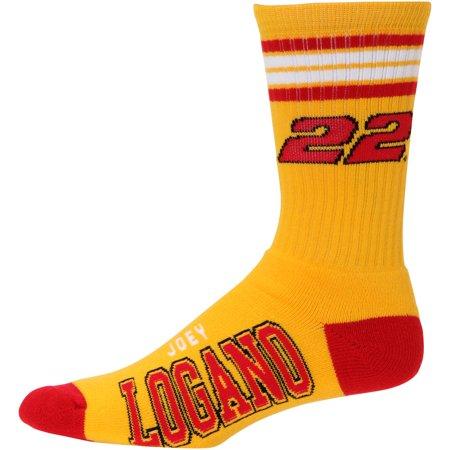 Joey Logano For Bare Feet Four-Stripe Deuce Sock - Gold -