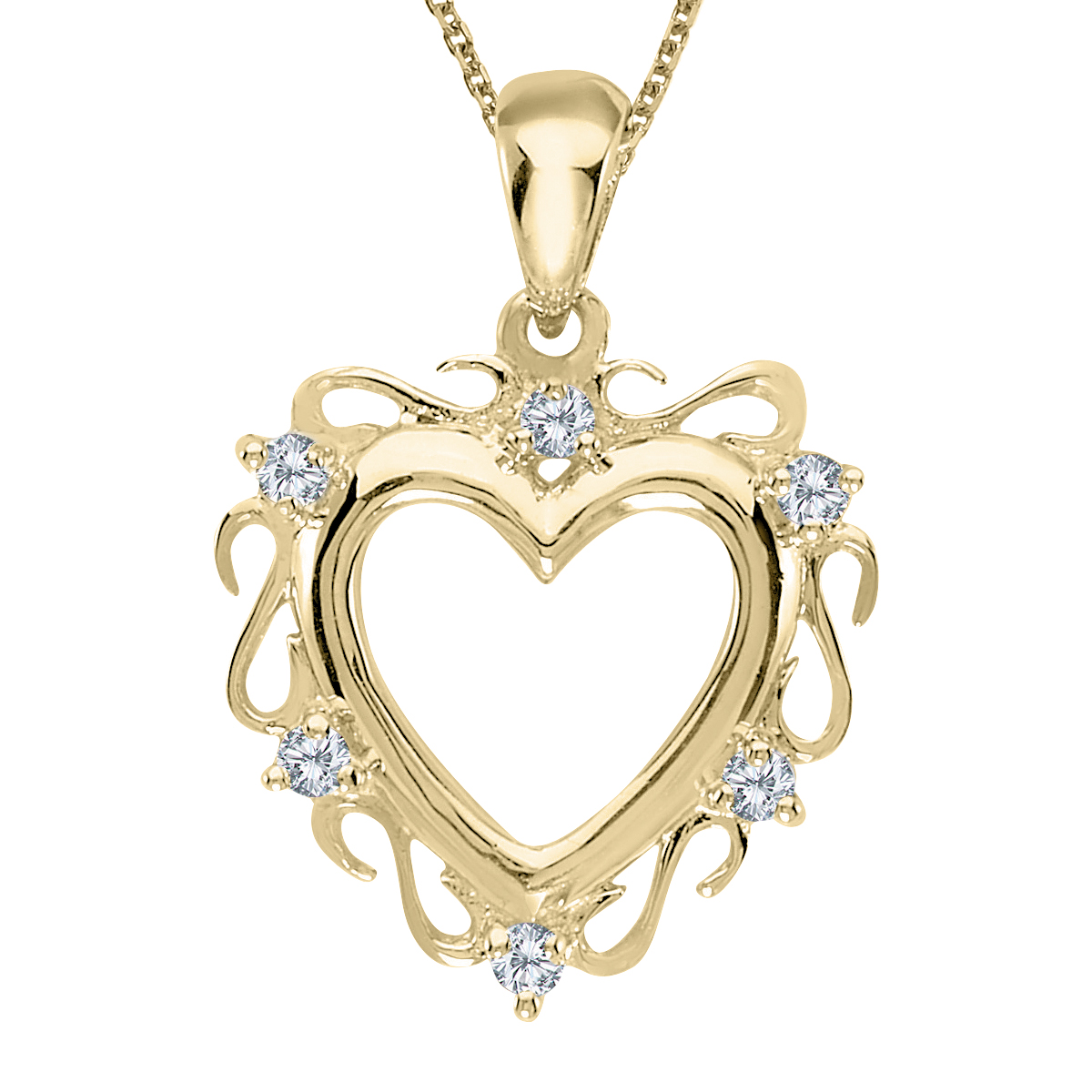 "14K Yellow Gold Diamond Heart Pendant with 18"" Chain by"