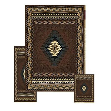 Furnish my Place 3 Piece Southwestern Contemporary Geometric Area Rug Set (5 x 8) (2 x 6) (2 x 3) 27097, Tucson Brown, Tucson