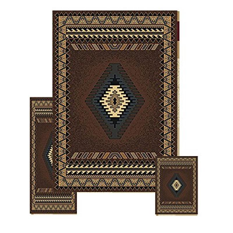 Furnish my Place 3 Piece Southwestern Contemporary Geometric Area Rug Set (5 x 8) (2 x 6) (2 x 3) 27097, Tucson Brown, Tucson Brown