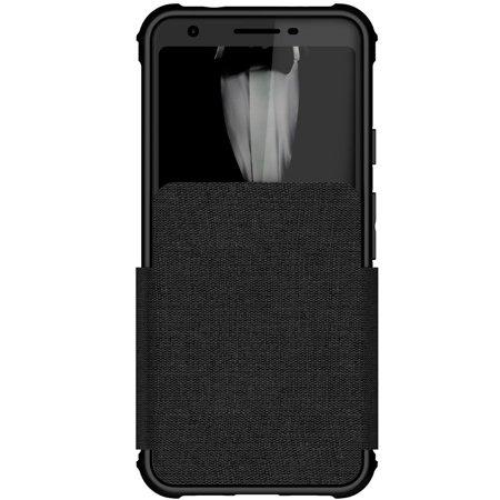 Ghostek Exec Leather Card Holder Wallet Case Designed for Google Pixel 3a – Black - Exec Stitching Leather