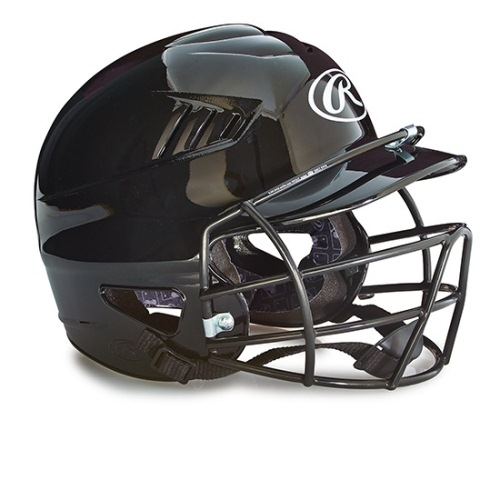 Rawlings Baseball Batting Helmets With Face Mask - Black
