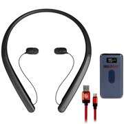 LG HBS-XL7.ACUSBKI TONE Flex XL7 Bluetooth Wireless Stereo Headset Black Bundle with Power Bank 8000 mAh Digital Display with Wireless Device Charging and 3FT Braided Type-C Charge & Sync USB Cable