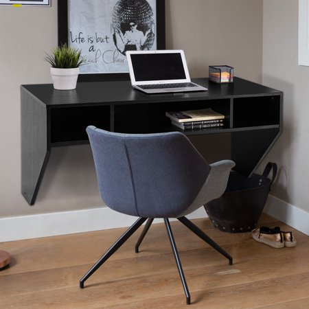 Costway Wall Mounted Floating Computer Table Sy Desk Home Office Furni Storag Shelf