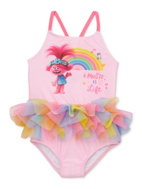 Trolls Baby Toddler Girl One-Piece Tutu Swimsuit