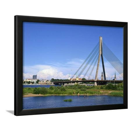 Vansu Bridge, Daugava River, Riga, Latvia Framed Print Wall Art By Dallas and John Heaton