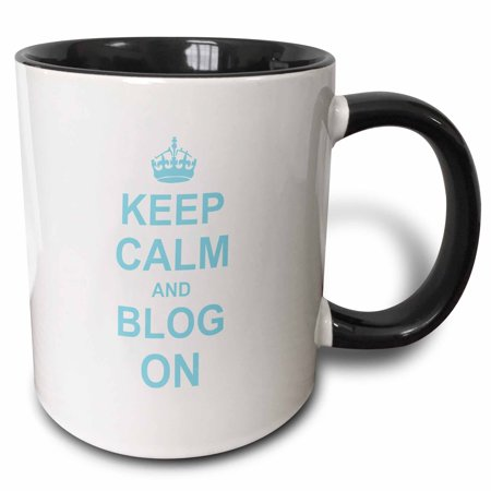 3dRose Keep Calm and Blog on - carry on blogging - gift for bloggers - blue white fun funny humor humorous - Two Tone Black Mug, (Violet Blue Blog)