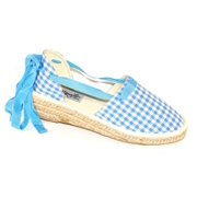 Laura Marano by Not Rated Women's Sorceress Closed Toe Casual Espadrille Sandal Blue & White Gingham Checkered Size 6