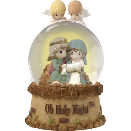 Precious Moments Oh Holy Night Musical Resin/Glass Snow Globe - Plastic Snow Globes