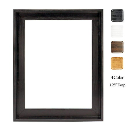 """Floating Frame for 16x20 Inch Canvas Painting 1-1/4"""" Deep, (4 Color) Picture Art Wall Decor, Black Frame"""