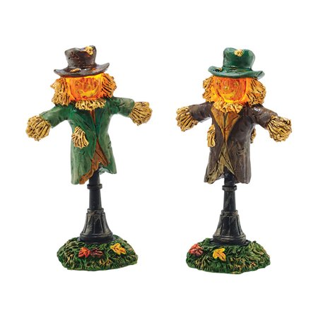 Dept 56 Halloween Village 4047617 Lit Scarecrow Lamp set of 2 New 2015 for $<!---->