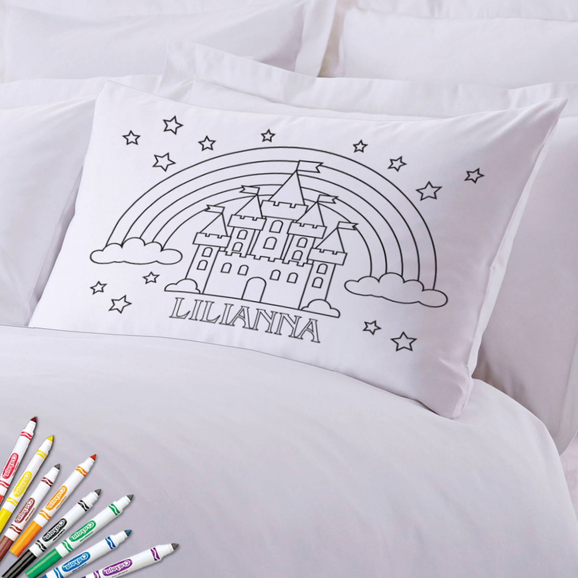 "Add Color Kids Custom Rainbow Castle Pillowcase, 20"" x 30"""