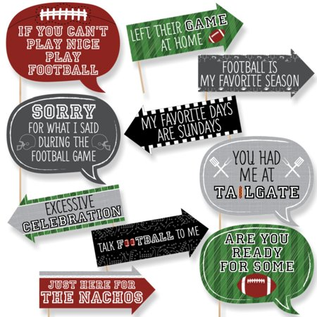 Funny End Zone - Football - Tailgating Party Photo Booth Props Kit - 10 Piece (Football Party Ideas)