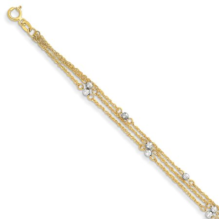 Roy Rose Jewelry 14K Two-tone Gold Triple Strand Bracelet ~ Length 7.25'' inches (Gold Tone Triple Strand)