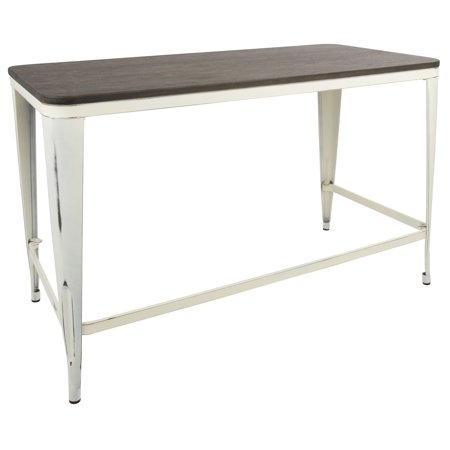 Pia Industrial Desk in Vintage Cream with Espresso Top by LumiSource ()