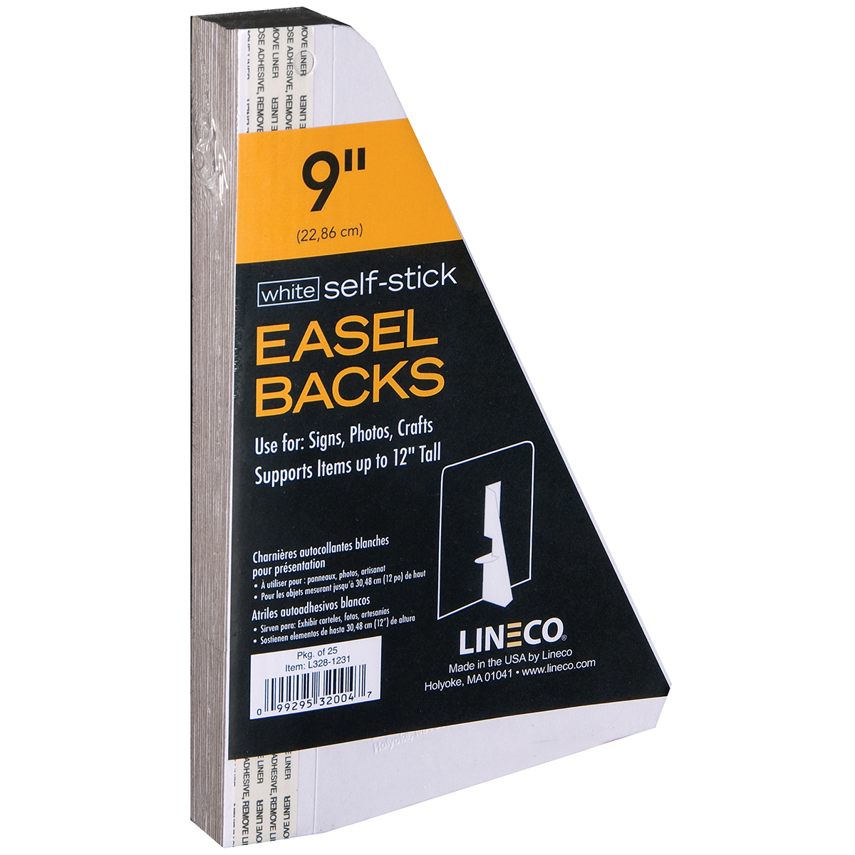 Self-Stick Chipboard Easel Backs 25/Pkg-White Single-Wing 9""