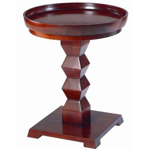 TLS by Design 3B-2007 Tikal Zig-Zag Transitional Pedestal With Tray - Cherry - 22in Diameter