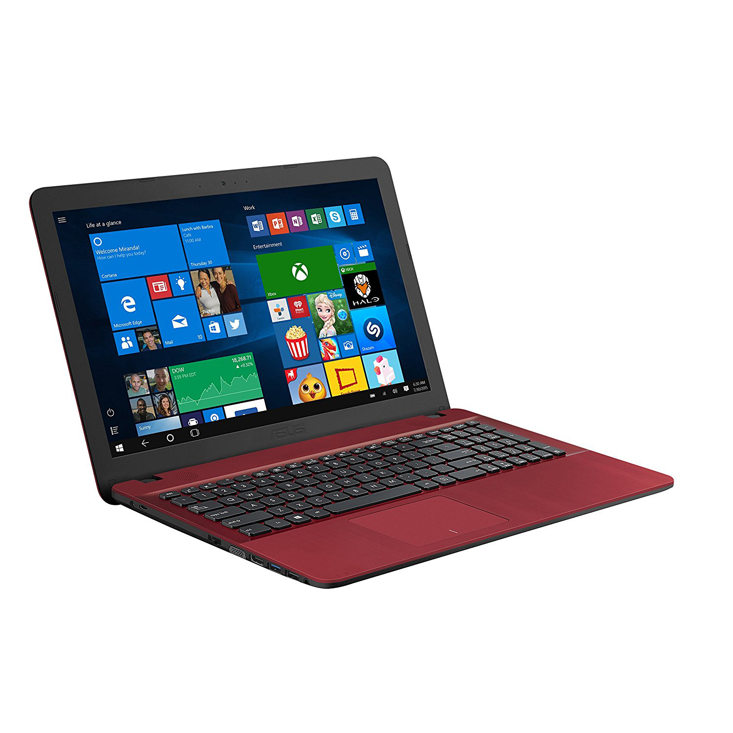 ASUS Vivobook 15 Red, Intel Quad-Core Pentium N4200 Processor, Touchscreen, 4GB RAM, 500GB Hard Drive, Windows 10 Home